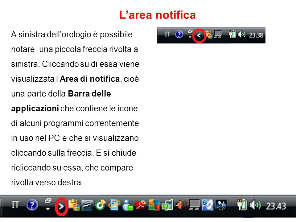 L'area notifica