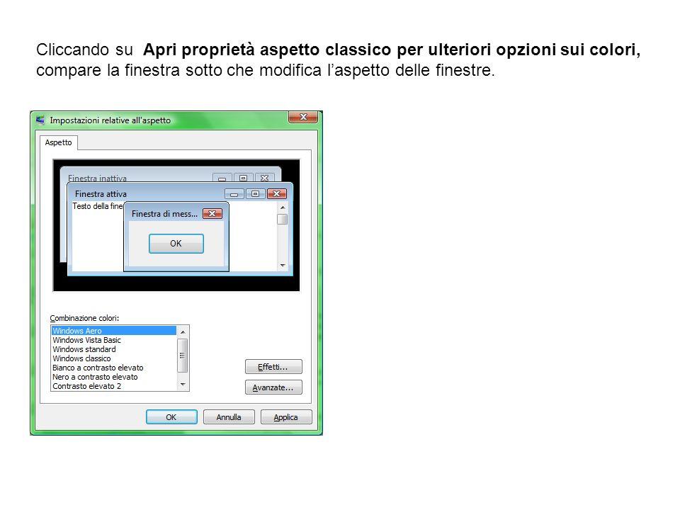 Cliccando su Apri proprietà aspetto classico per ulteriori opzioni sui colori, compare la finestra sotto che modifica l'aspetto delle finestre.