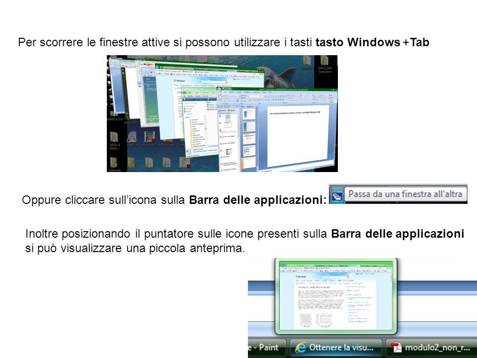 Per scorrere le finestre attive si possono utilizzare i tasti tasto Windows +Tab