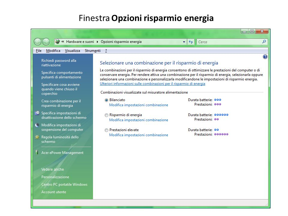 Finestra Opzioni risparmio energia