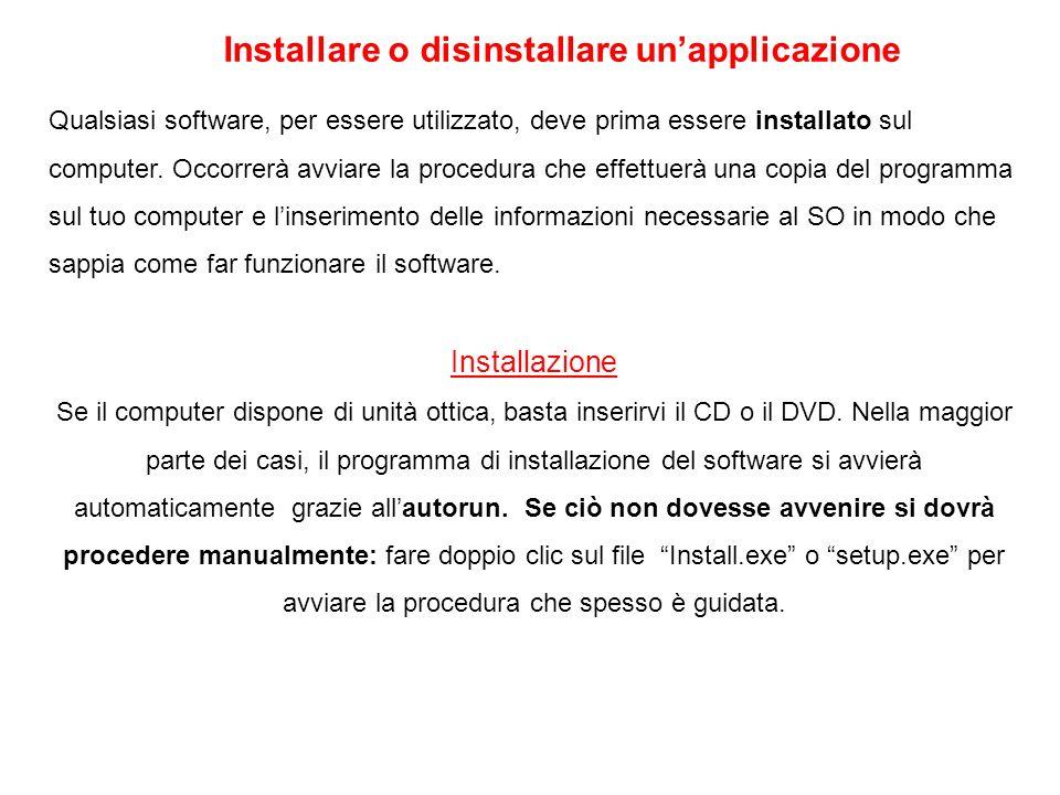 Installare o disinstallare un'applicazione