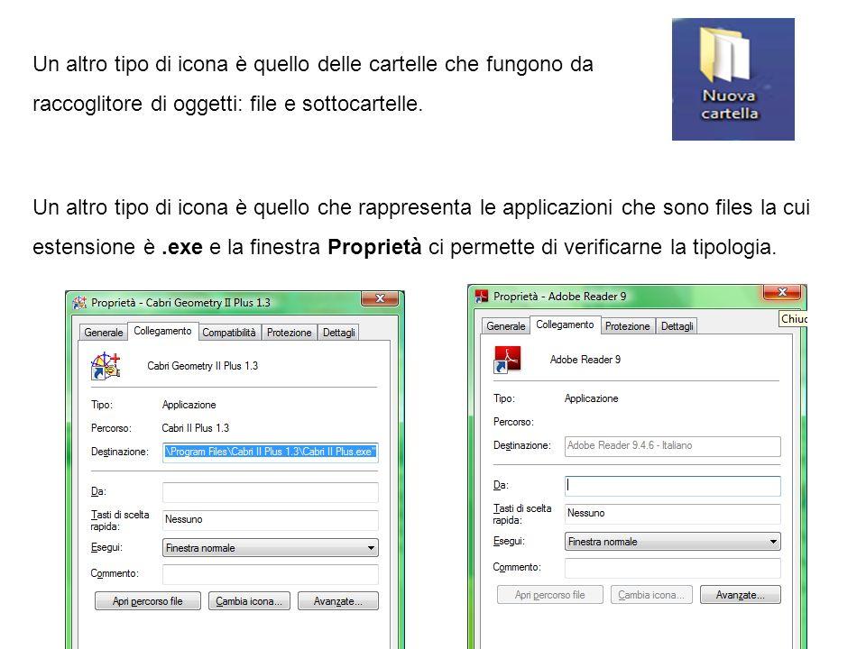 Un altro tipo di icona è quello delle cartelle che fungono da raccoglitore di oggetti: file e sottocartelle.