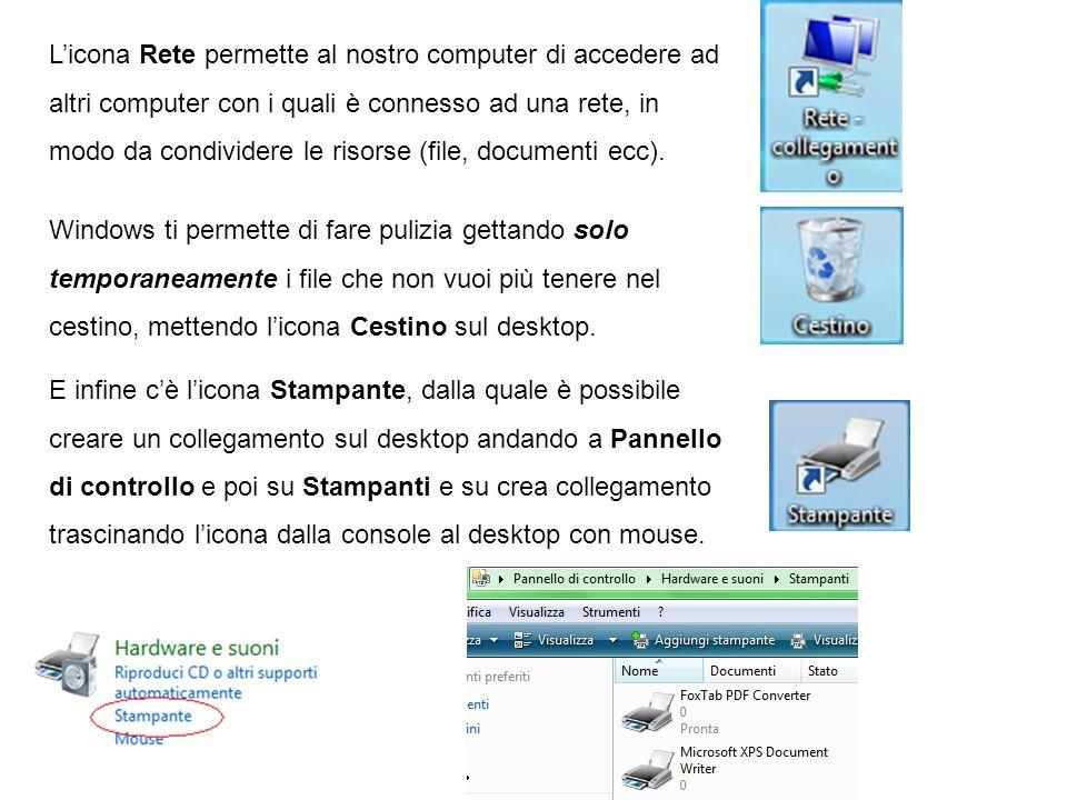 L'icona Rete permette al nostro computer di accedere ad altri computer con i quali è connesso ad una rete, in modo da condividere le risorse (file, documenti ecc).