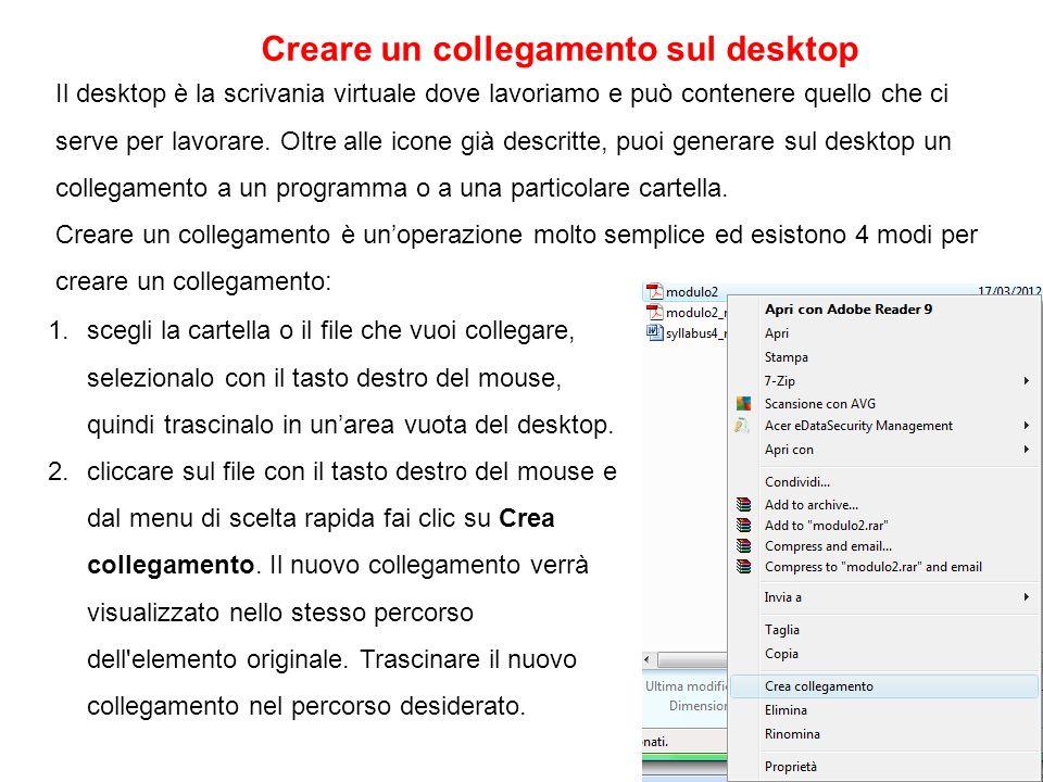 Creare un collegamento sul desktop
