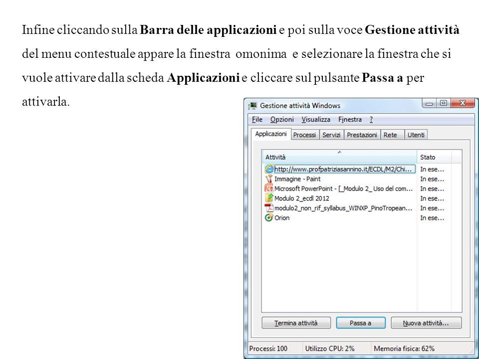 Infine cliccando sulla Barra delle applicazioni e poi sulla voce Gestione attività del menu contestuale appare la finestra omonima e selezionare la finestra che si vuole attivare dalla scheda Applicazioni e cliccare sul pulsante Passa a per attivarla.