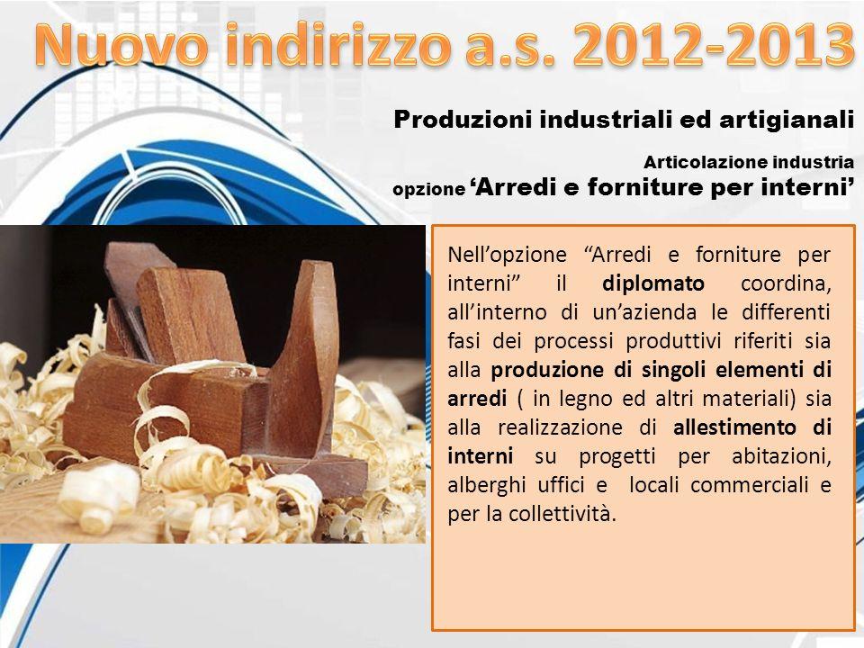 Nuovo indirizzo a.s. 2012-2013 Produzioni industriali ed artigianali