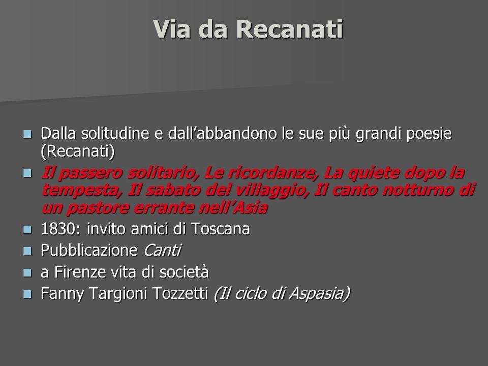 Via da Recanati Dalla solitudine e dall'abbandono le sue più grandi poesie (Recanati)