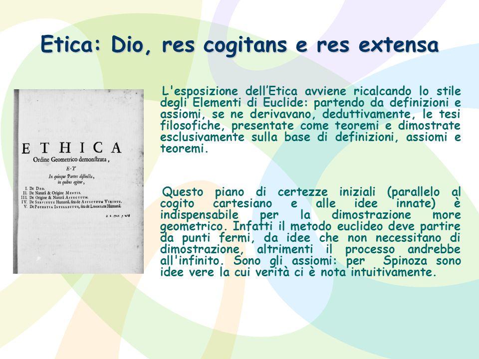 Etica: Dio, res cogitans e res extensa
