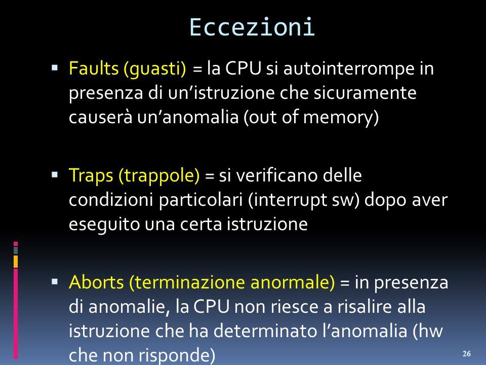 Eccezioni Faults (guasti) = la CPU si autointerrompe in presenza di un'istruzione che sicuramente causerà un'anomalia (out of memory)