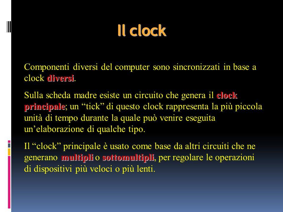 Il clock Componenti diversi del computer sono sincronizzati in base a clock diversi.