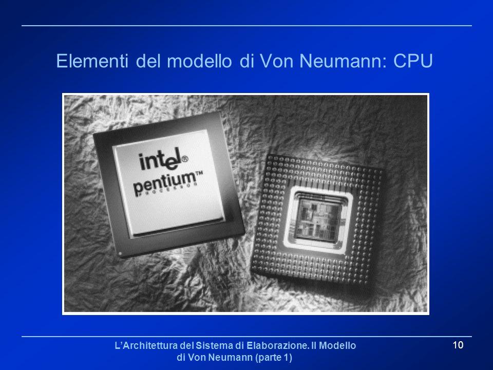 Elementi del modello di Von Neumann: CPU