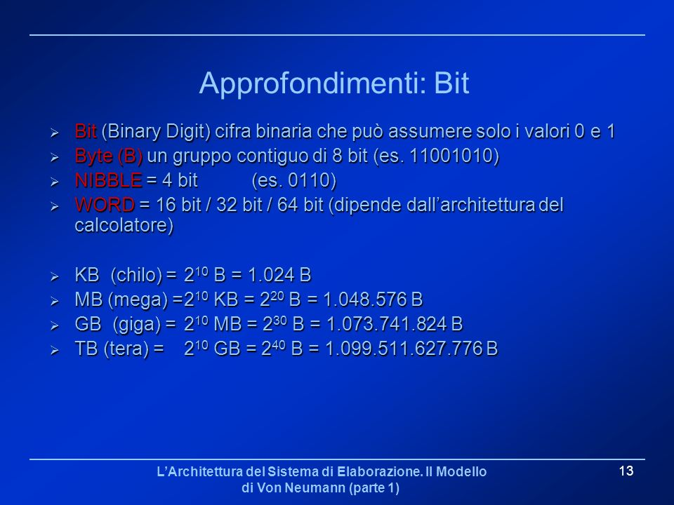 Approfondimenti: Bit Bit (Binary Digit) cifra binaria che può assumere solo i valori 0 e 1. Byte (B) un gruppo contiguo di 8 bit (es. 11001010)