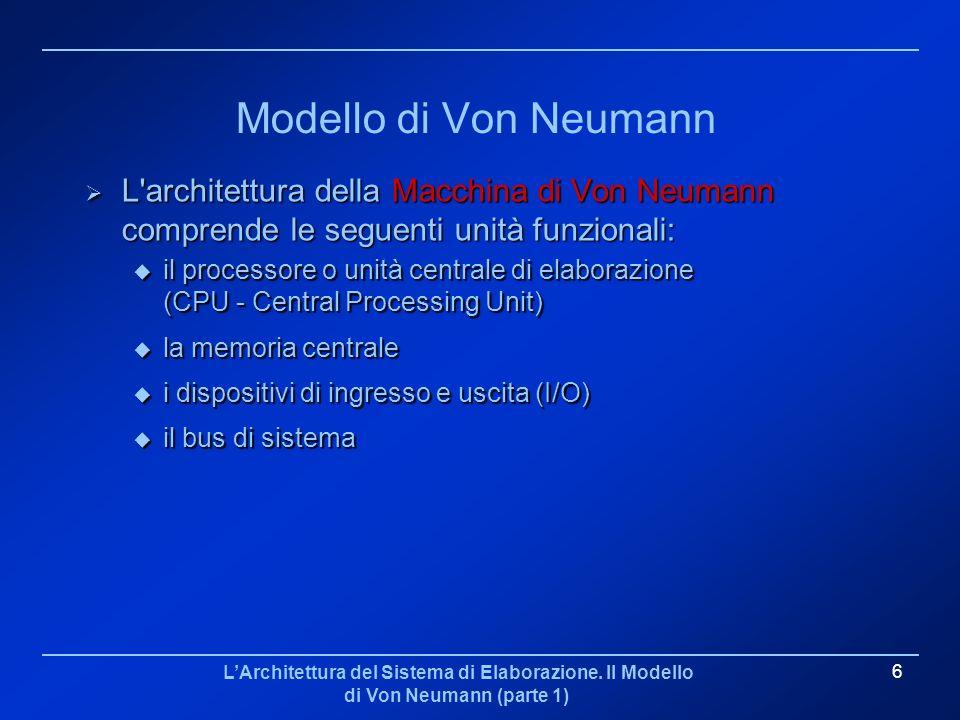 Modello di Von Neumann L architettura della Macchina di Von Neumann comprende le seguenti unità funzionali: