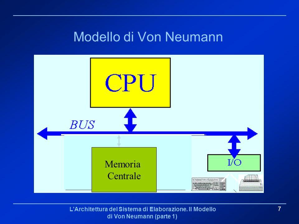 Modello di Von Neumann Memoria Centrale