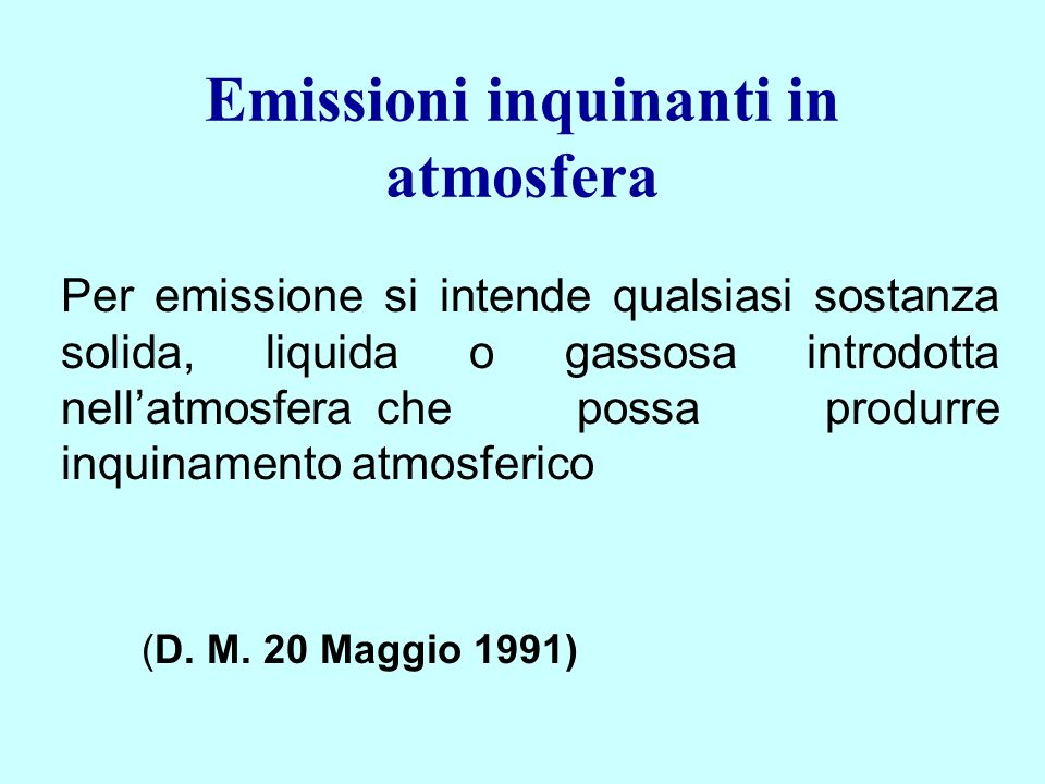 Emissioni inquinanti in atmosfera