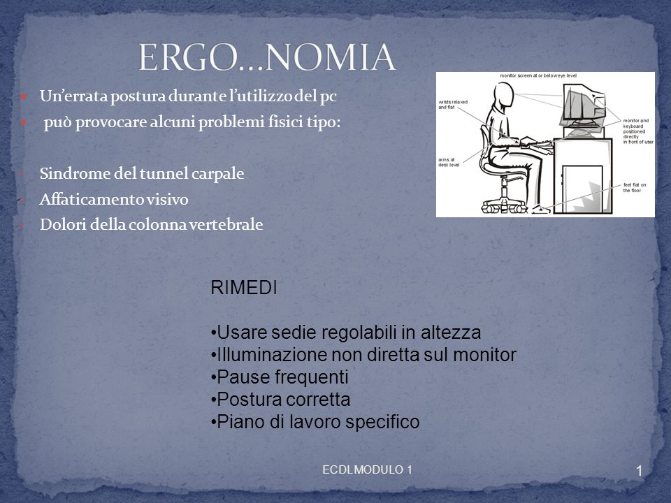 ERGO…NOMIA RIMEDI Usare sedie regolabili in altezza