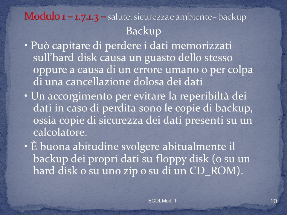 Modulo 1 – 1.7.1.3 – salute, sicurezza e ambiente - backup