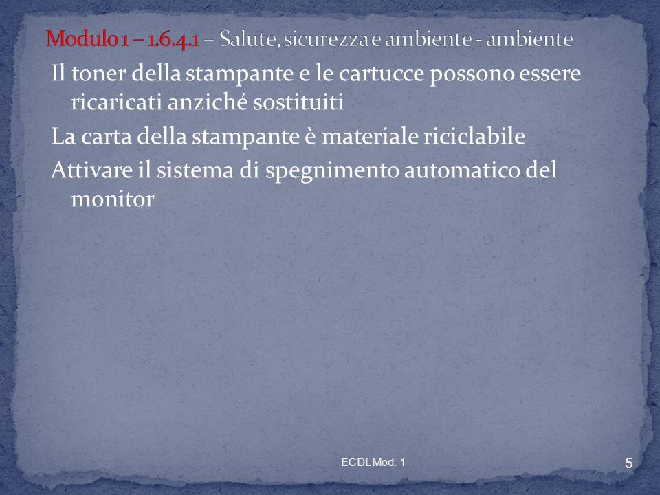 Modulo 1 – 1.6.4.1 – Salute, sicurezza e ambiente - ambiente