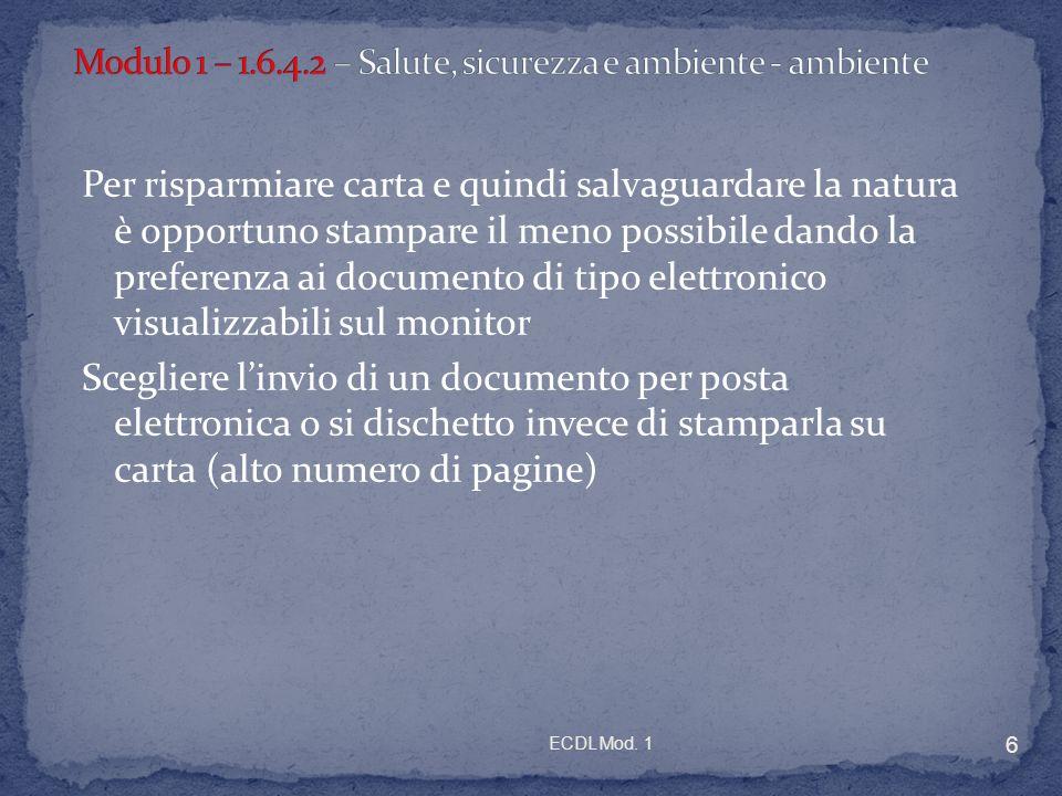 Modulo 1 – 1.6.4.2 – Salute, sicurezza e ambiente - ambiente