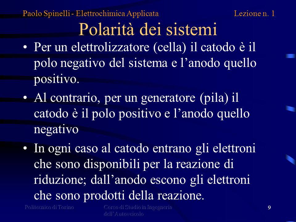 Polarità dei sistemi Per un elettrolizzatore (cella) il catodo è il polo negativo del sistema e l'anodo quello positivo.