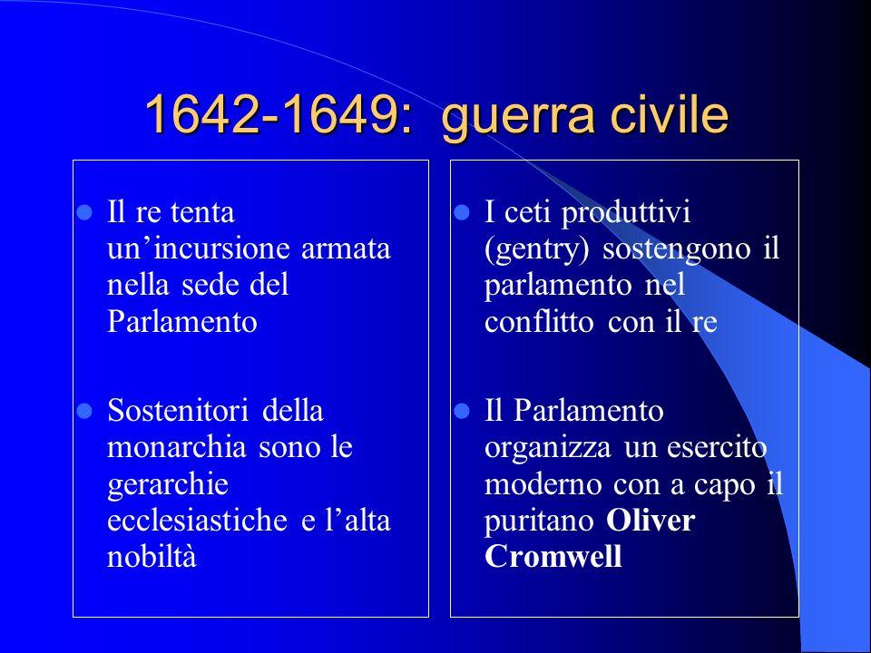 1642-1649: guerra civile Il re tenta un'incursione armata nella sede del Parlamento.