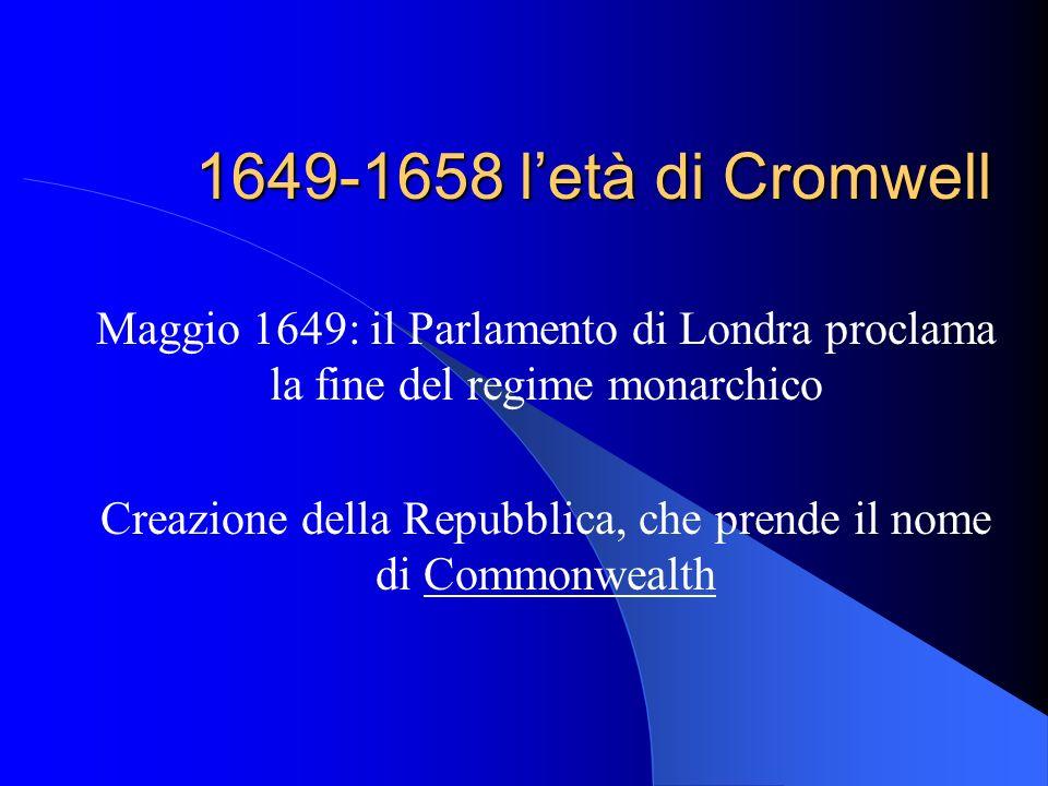 Creazione della Repubblica, che prende il nome di Commonwealth