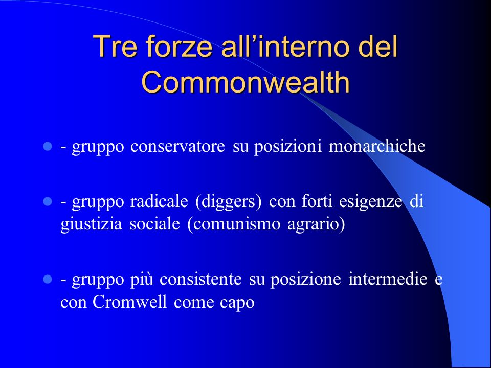 Tre forze all'interno del Commonwealth