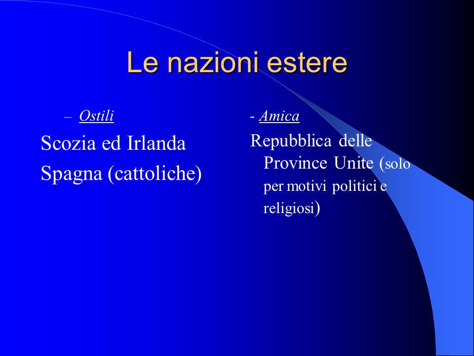 Le nazioni estere Scozia ed Irlanda Spagna (cattoliche)