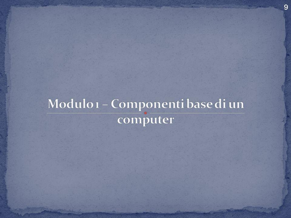 Modulo 1 – Componenti base di un computer