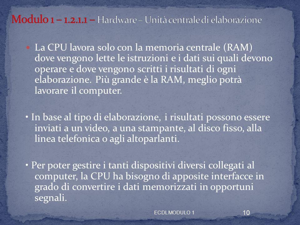 Modulo 1 – 1.2.1.1 – Hardware – Unità centrale di elaborazione