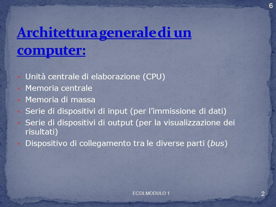 Architettura generale di un computer: