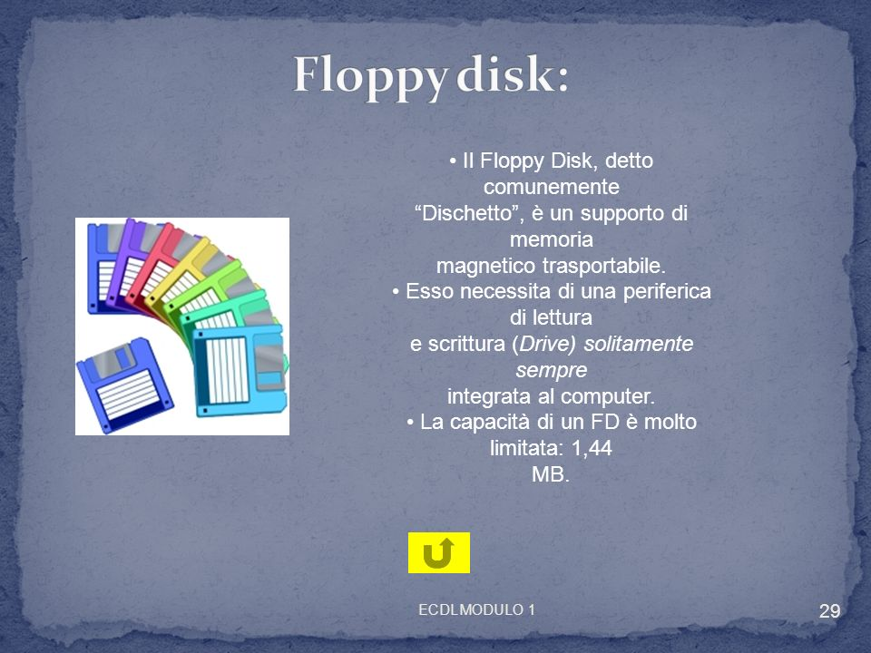 Floppy disk: • Il Floppy Disk, detto comunemente