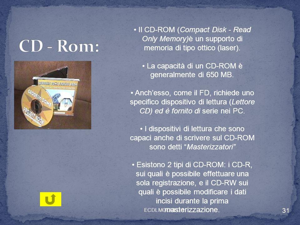 • La capacità di un CD-ROM è generalmente di 650 MB.
