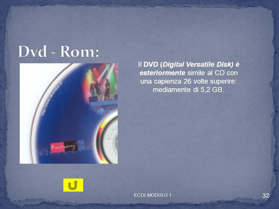 Dvd - Rom: Il DVD (Digital Versatile Disk) è esteriormente simile al CD con una capienza 26 volte superire: mediamente di 5,2 GB.