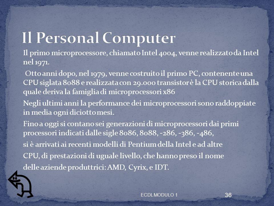 Il Personal Computer Il primo microprocessore, chiamato Intel 4004, venne realizzato da Intel nel 1971.