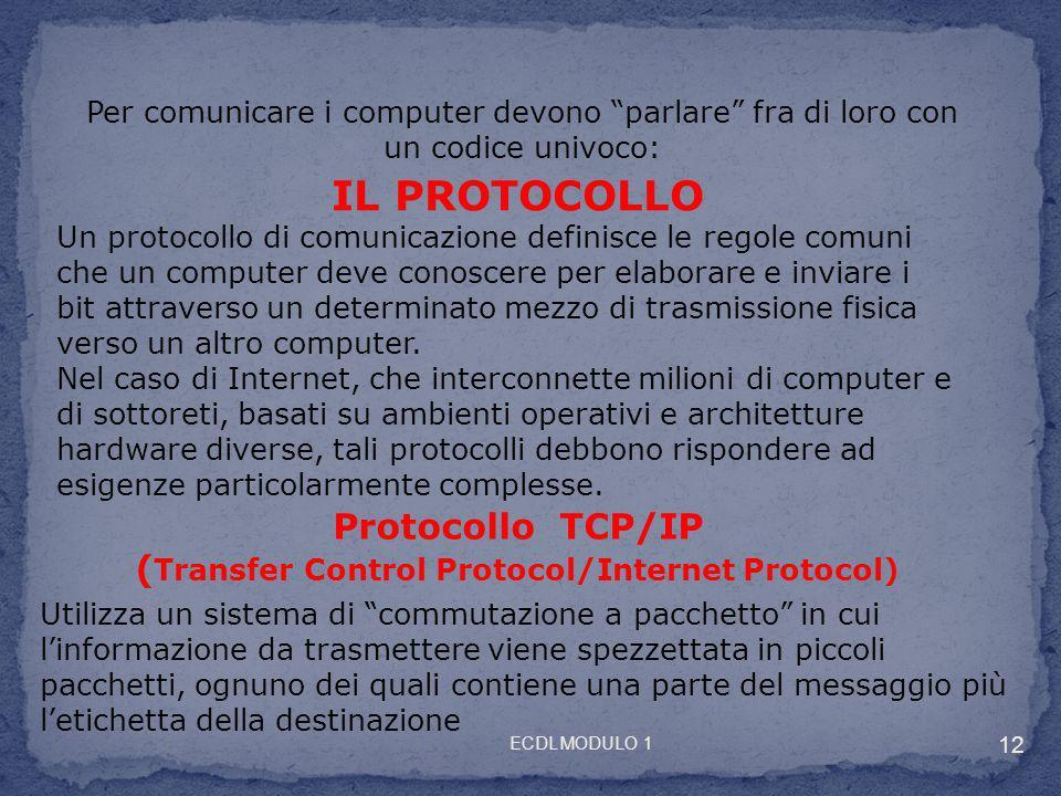 Protocollo TCP/IP (Transfer Control Protocol/Internet Protocol)