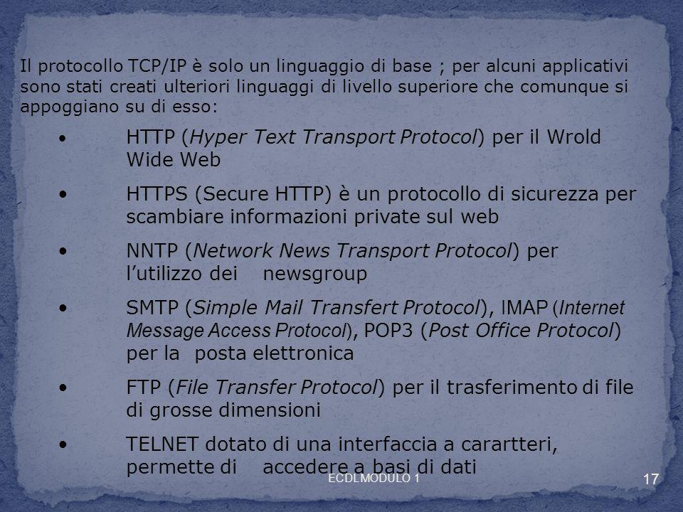 NNTP (Network News Transport Protocol) per l'utilizzo dei newsgroup