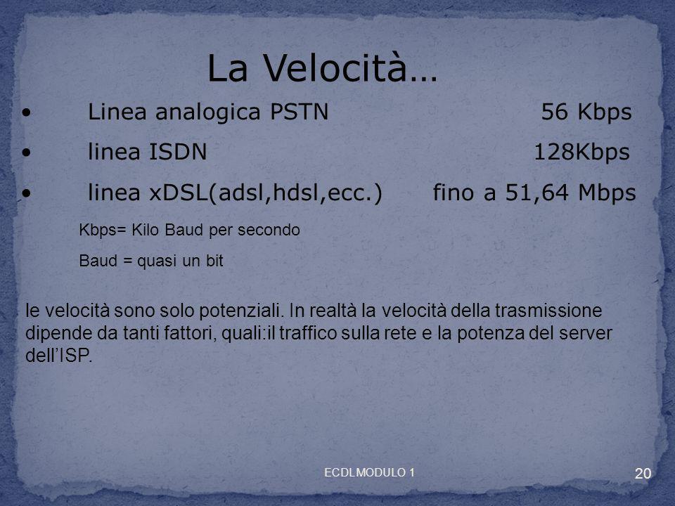 La Velocità… Linea analogica PSTN 56 Kbps linea ISDN 128Kbps