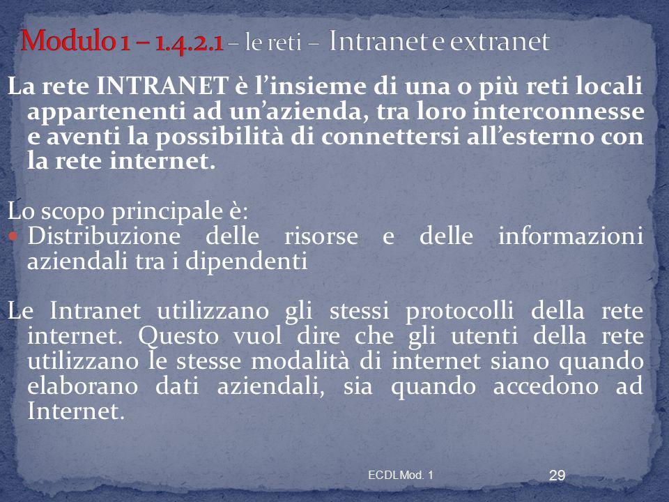 Modulo 1 – 1.4.2.1 – le reti – Intranet e extranet