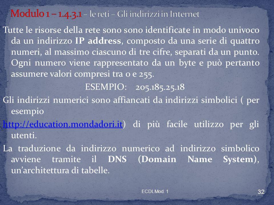 Modulo 1 – 1.4.3.1 – le reti – Gli indirizzi in Internet
