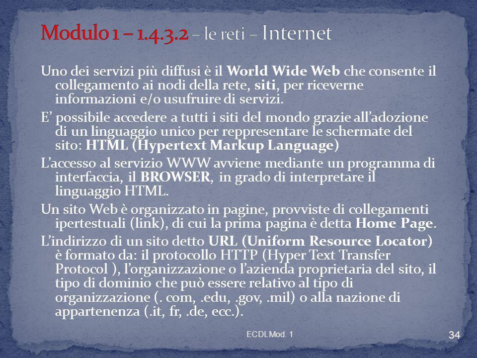 Modulo 1 – 1.4.3.2 – le reti – Internet