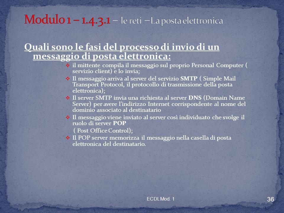 Modulo 1 – 1.4.3.1 – le reti –La posta elettronica