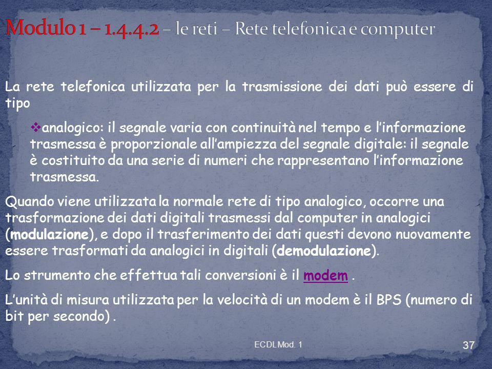 Modulo 1 – 1.4.4.2 – le reti – Rete telefonica e computer
