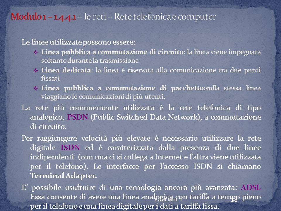 Modulo 1 – 1.4.4.1 – le reti – Rete telefonica e computer