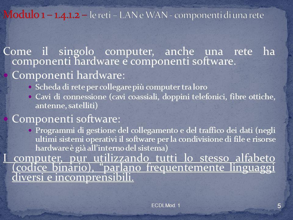 Modulo 1 – 1.4.1.2 – le reti – LAN e WAN - componenti di una rete