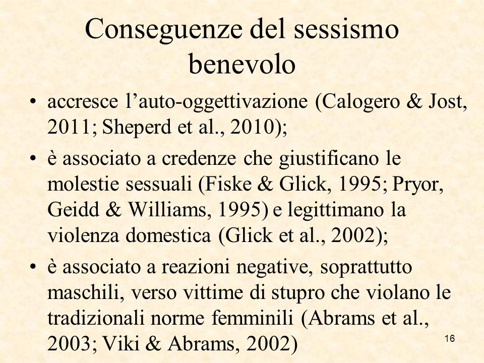 Conseguenze del sessismo benevolo