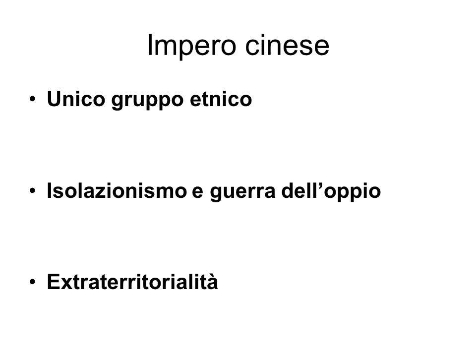 Impero cinese Unico gruppo etnico Isolazionismo e guerra dell'oppio
