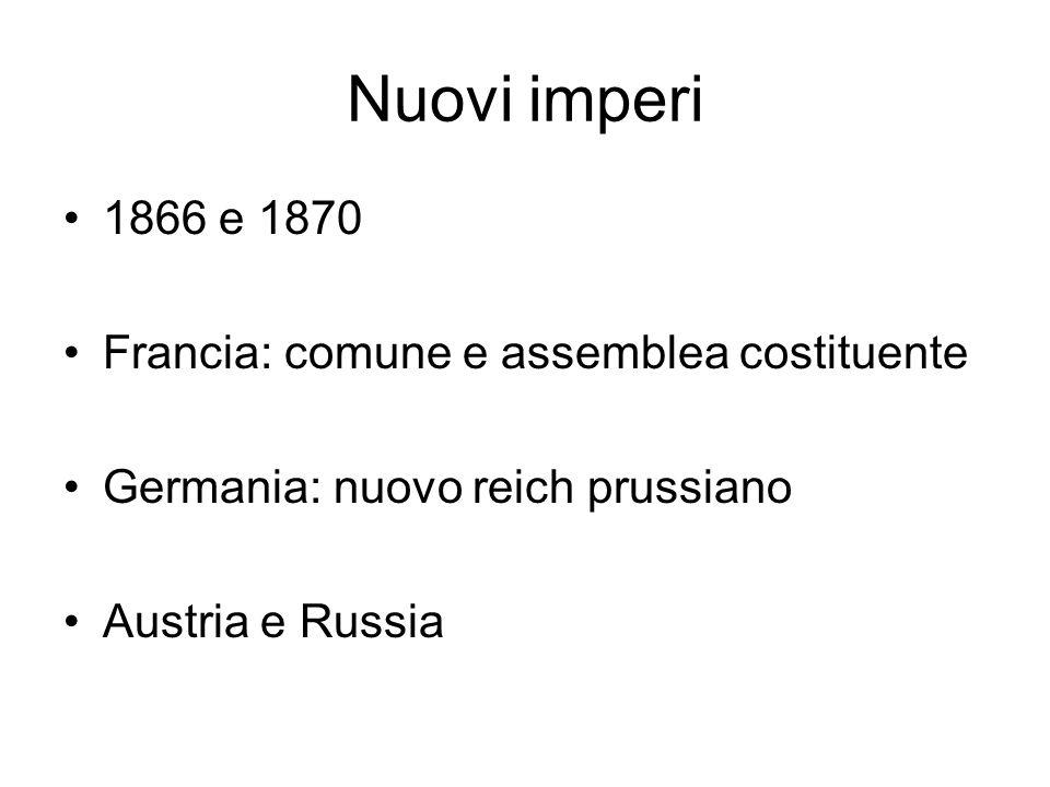 Nuovi imperi 1866 e 1870 Francia: comune e assemblea costituente