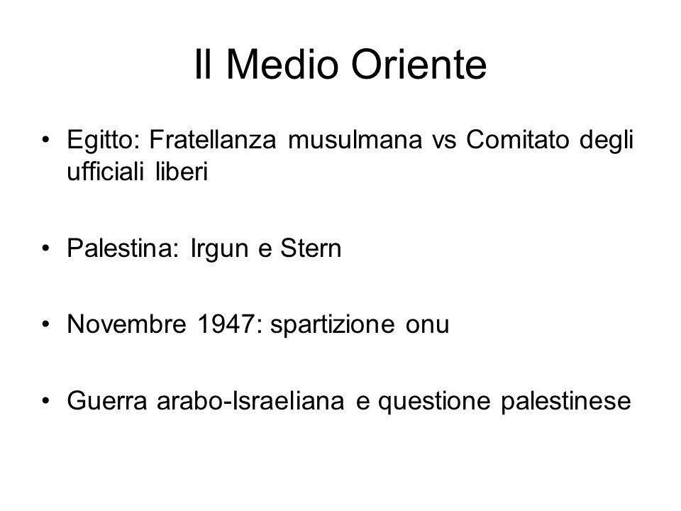 Il Medio Oriente Egitto: Fratellanza musulmana vs Comitato degli ufficiali liberi. Palestina: Irgun e Stern.