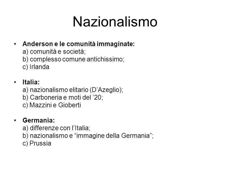 Nazionalismo Anderson e le comunità immaginate: a) comunità e società;
